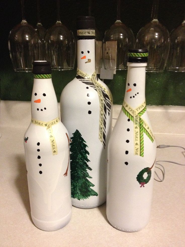 Snowmen wine bottles