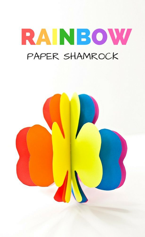3d Rainbow Paper Shamrock Craft St Patrick First Grade Rainbow