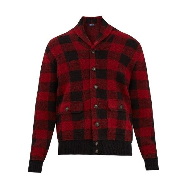 Polo Ralph Lauren Shawl-collar checked wool-blend cardigan (€255) ❤ liked on Polyvore featuring men's fashion, men's clothing, men's sweaters, multi, polo ralph lauren mens sweater, mens cardigan sweaters, mens shawl collar sweater and mens shawl collar cardigan sweater