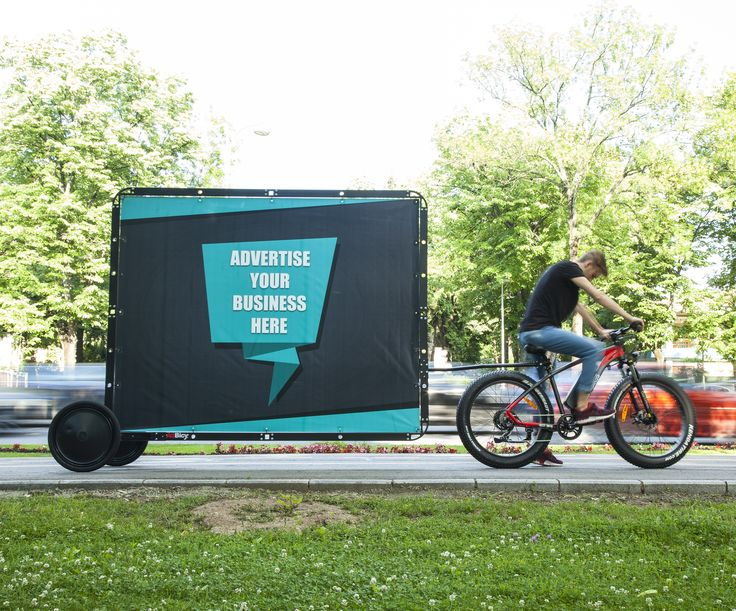 Ad Bicycle // Fat Tire Electric Bicycle with AdBicy mobile billboard by BizzOnWheels