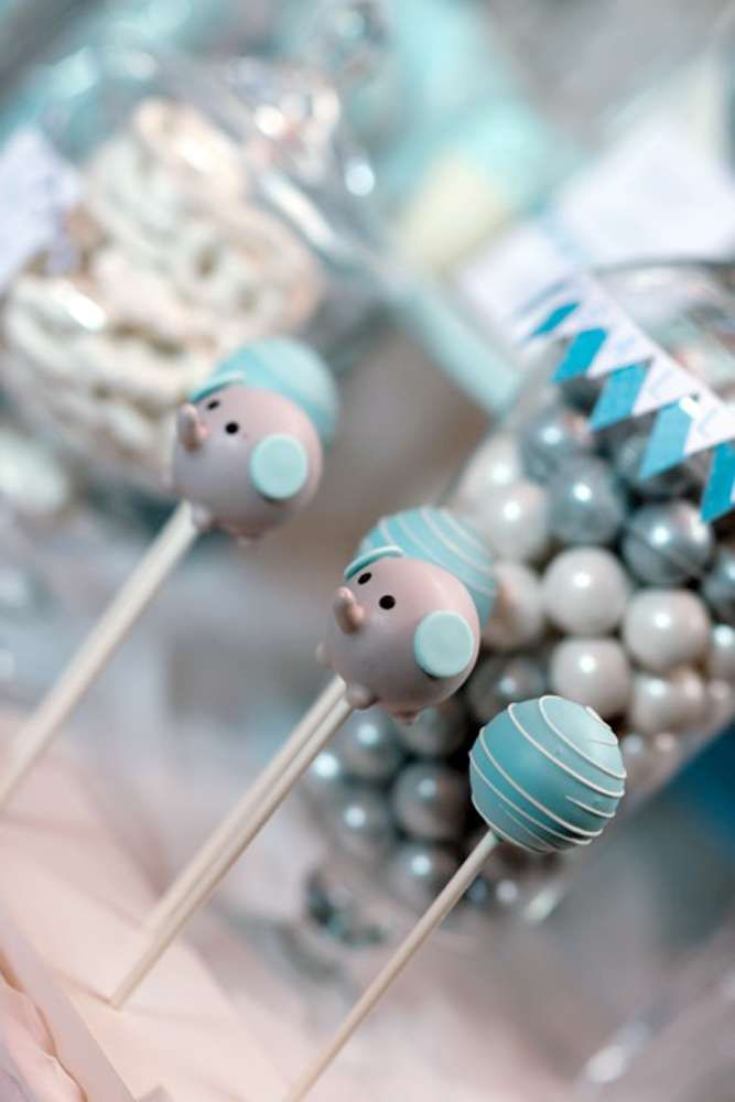 Blue and gray elephant baby shower party pops! See more party planning ideas at CatchMyParty.com!