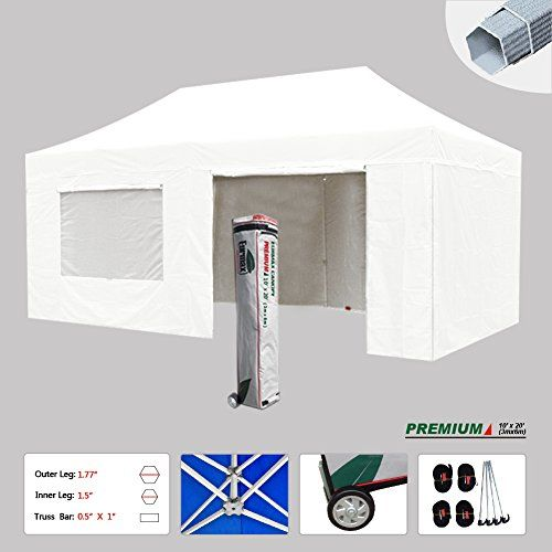 New Eurmax 10x20 Ft Premium Ez Pop up Instant Canopy Outdoor Canopy Package Deal Party Tent Wedding Gazebo Quick Shelter Commercial Grade 4 Removable Zipper End Sidewalls Bonus Roller Bag White ** Read more  at the image link. (This is an Amazon affiliate link)