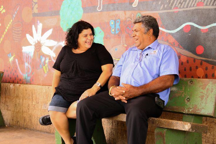 Co-Chair Kirsty Parker with Aurukun Mayor Derek Walpo