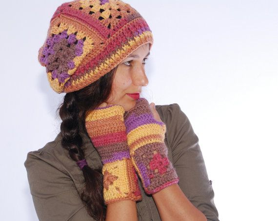 Autumn colors set Hippie beanie wool hat by SexyCrochetDesign