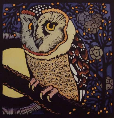 "Meridian Gallery - Art & Design: O is for .. Animal Woodblock ABC Masked Owl III"" 2011                                                                        Kit Hiller born 1948, Australian."