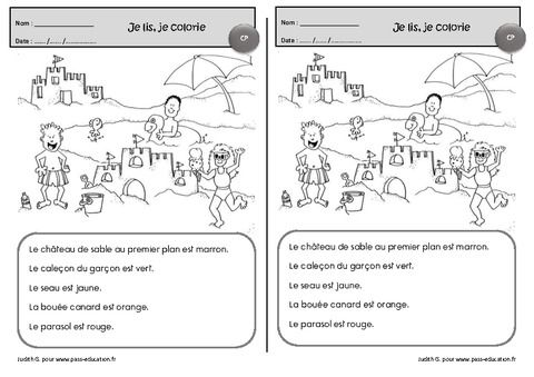 Je lis, je colorie - Cp - Exercices de lecture - Pass Education