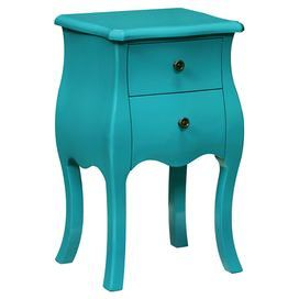 """2-drawer side table in blue with a bombe silhouette.  Product: Side tableConstruction Material: Engineered wood solid and woodColor: BlueFeatures:  Two drawerBombe silhouette Dimensions: 26.5"""" H x 15.5"""" W x 13"""" D"""