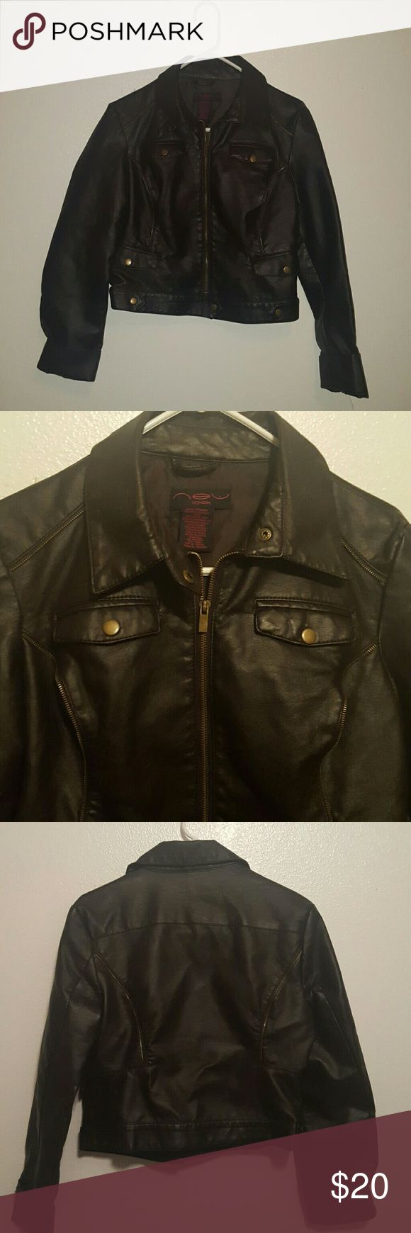 New Look Leather Jacket Size L New Look Leather Jacket, size Large, dark brown leather. Zips up and has zipper detailing and pockets. Make me an offer! New Look Jackets & Coats