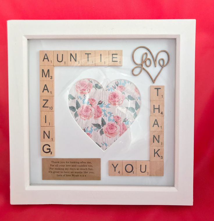 Amazing Auntie Photo Frame. Scrabble Box Frame Gift. Thank you Gift. Aunt Auntie Aunty Gift #handmade #scrabble #scrabbleboxframe #auntiegift #auntgift