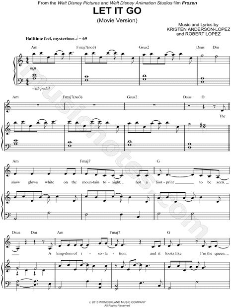 Sheet Music for Frozen's 'Let it go'
