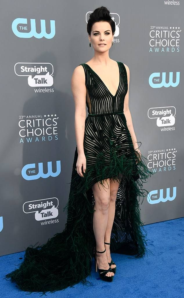 Jaimie Alexander from 2018 Critics' Choice Awards Red Carpet Fashion  Just hours after landing in Los Angeles, the Blindspot star is award show ready with her Georges Chakra Couture dress.