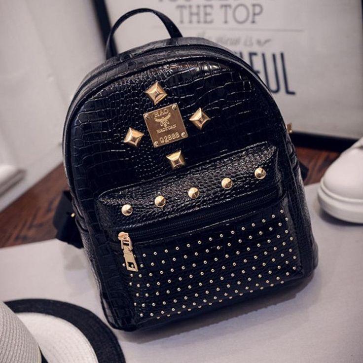 Feitong Hot Fashion 2017 Women Backpack High Quality Rivet School Backpacks For Teenage Girls Women Pu Leather Backpack Mochila aliexpress.com