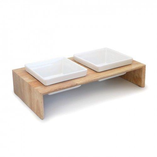 Gamelle et distributeur - Gamelle en bois Gourmet Dinner - Double pour chiens