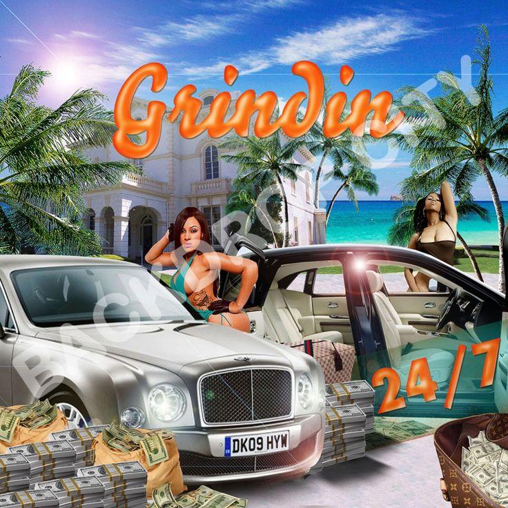 10 X10 Grindin Urban Rap Club Hip Hop Backdrop