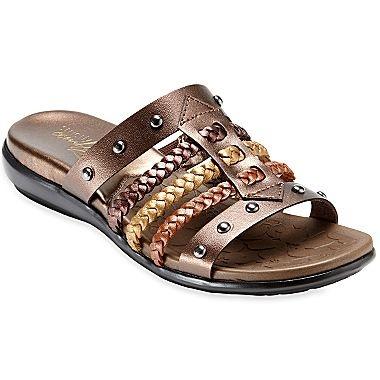 Strictly Comfort™ Titan Leather Slide Sandals - jcpenney