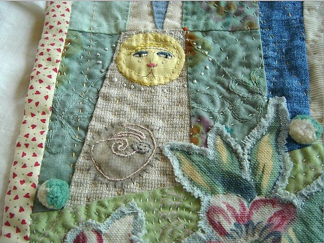 beautiful quilt.wow so cool in cotton and linen collage your heart out in cotton and linen
