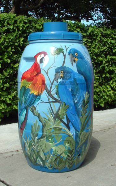 Blaine Whitford Murals: Florida Rain Barrels, Fence Murals, Green