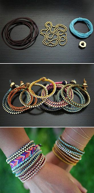 ball chain and colored hemp bracelet: Wraps Bracelets, Arm Party, Hands Made, Decoration Idea, Diy'S Decoration, Diy'S Gifts, Diy'S Fashion, Friendship Bracelets, Diy'S Bracelets