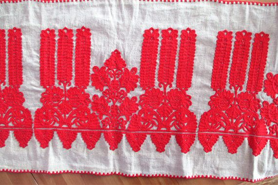 263. Hand embroidered transylvanian table runner or wall