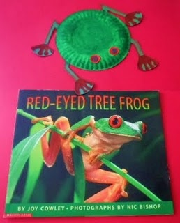 Adorable craft of a red-eyed tree frog with a great book by Joy Cowley. You might also want to read Tree Frog Hears a Sound by Rebecca Johnson with this craft.