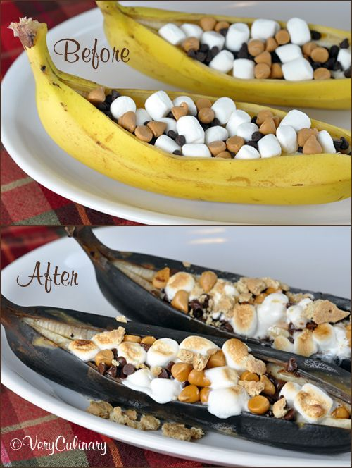 Grilled S'mores Banana Boats (before and after)