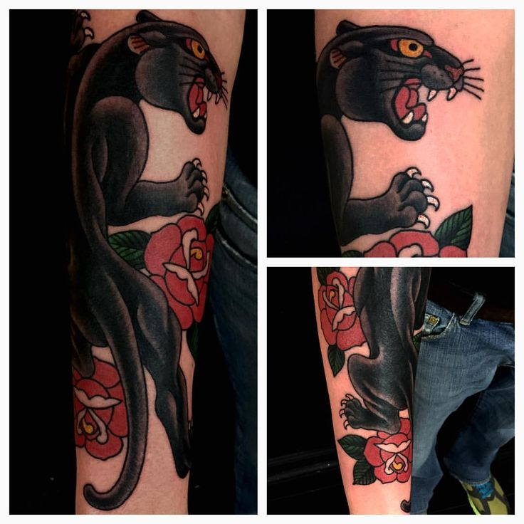 Fun traditional panther today. #Panther #invisiblenyc #tattoo #traditional #tattoodo #roses #tattooart
