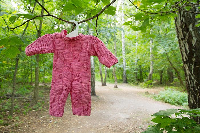 Knit jumbsuit for Ponyo doll.  #fibergraph #jumpsuit #knit #doll #dollclothes #handmade