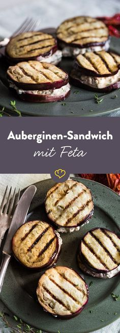 Auberginensandwich mit olivgrüner Fetacreme   – Lecker glutenfrei / low carb