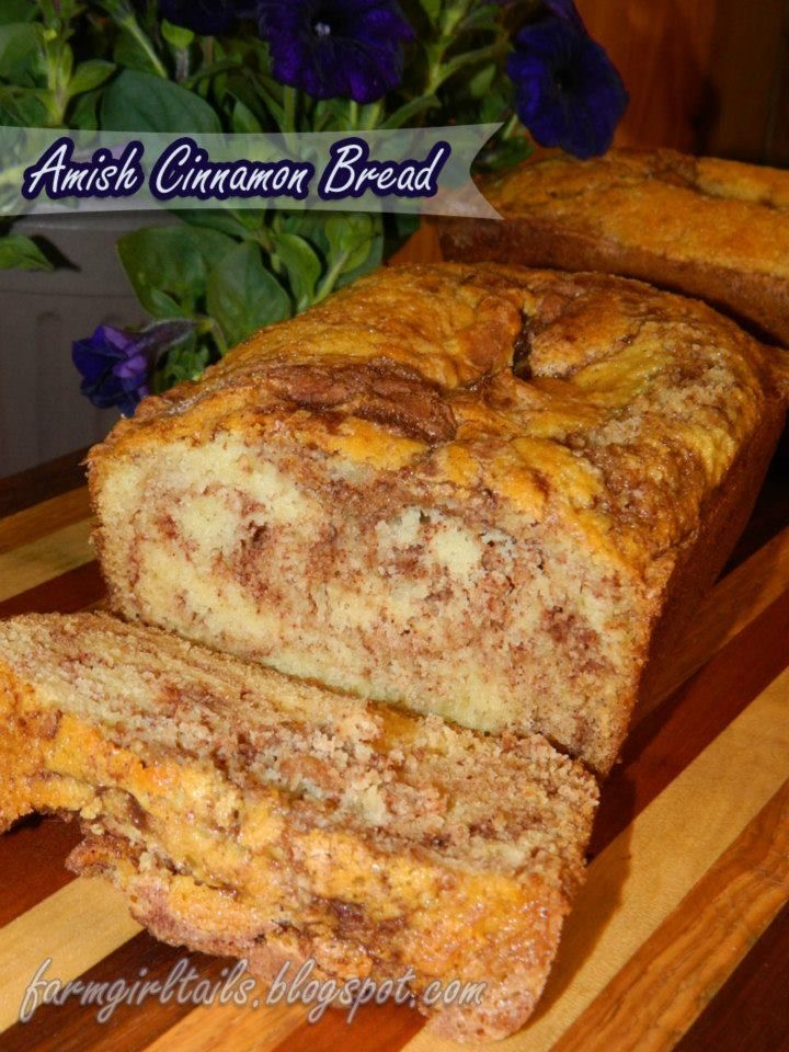 Farm Girl Tails: Amish Cinnamon Bread --> Made this. It was easy and delicious. I put extra cinnamon sugar mixture in mine. -->No buttermilk so I used milk and it worked out with no issues.