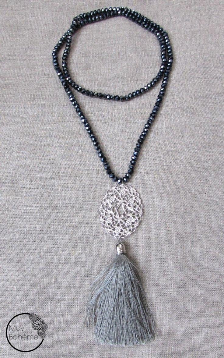 sautoir_manouche_chic_perles_noir_moiré-argent-gris_estampe_orientale_vintage_pompon_long_soie_may_bohème_chic1