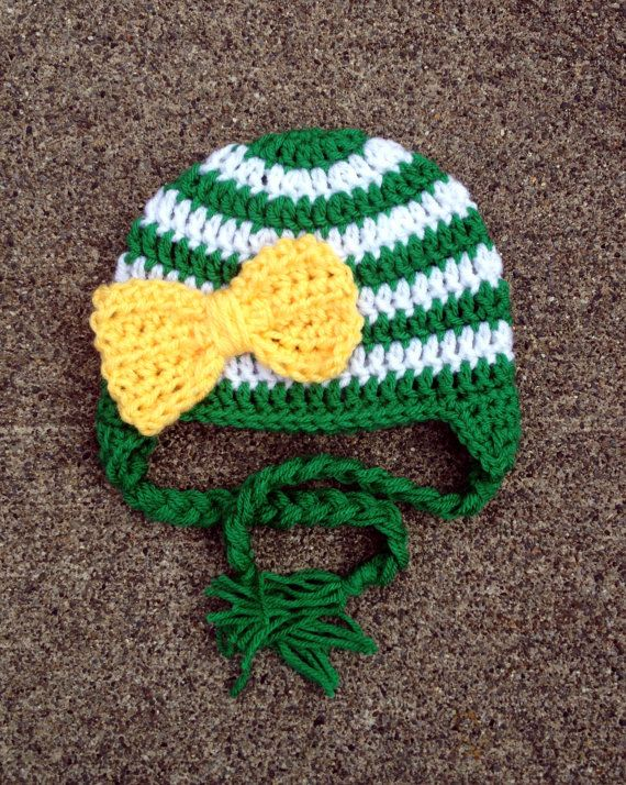 Oregon Ducks Inspired Stripe Big Bow Beanie in Green, Yellow and White Available in Newborn to 5 Year Size- MADE TO ORDER