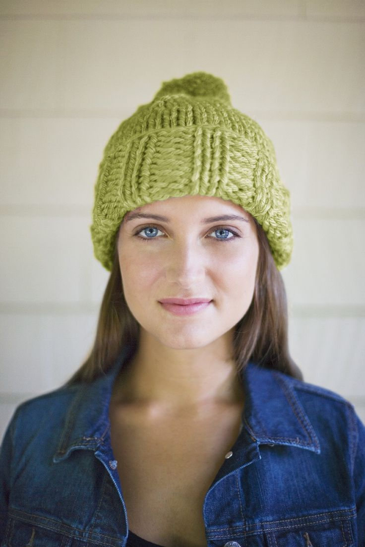 FREE pattern: Fresh Greens Hat knitting pattern from Lion Brand. We love the green shade of this hat!