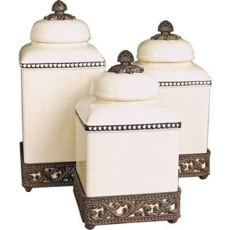 GG Collection Acanthus Ceramic Kitchen Canister Sets with Metal Base - The ceramic canisters from the GG Collection are designed for Tuscan or Country French kitchens. The warm and inviting colors of