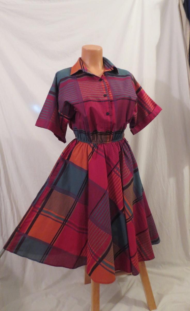 MAD ABOUT PLAID retro vintage madras shirt dress - full skirt sz 8 10 M.