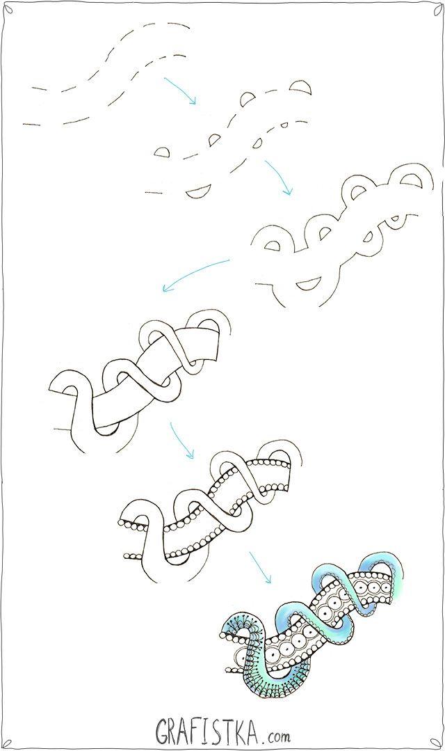 Зентангл узор - как рисовать веревку по шагам