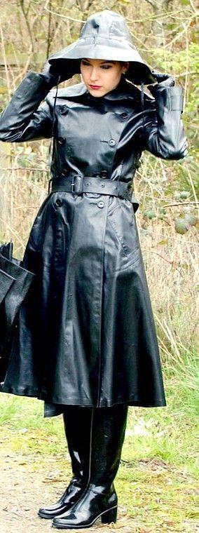 Black Rubber Raincoat