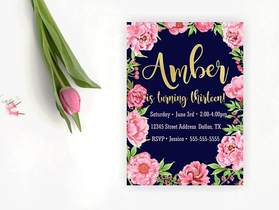 Floral and Navy Birthday Invitation Teen Birthday First