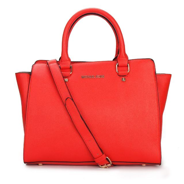 Michael Kors Selma Top-Zip Large Red Satchels only $72.99