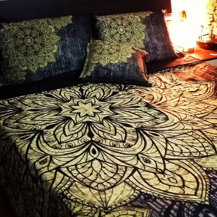 Black and gold #mandala #bohemianstyle #bedding with elegant Indian motifs with…