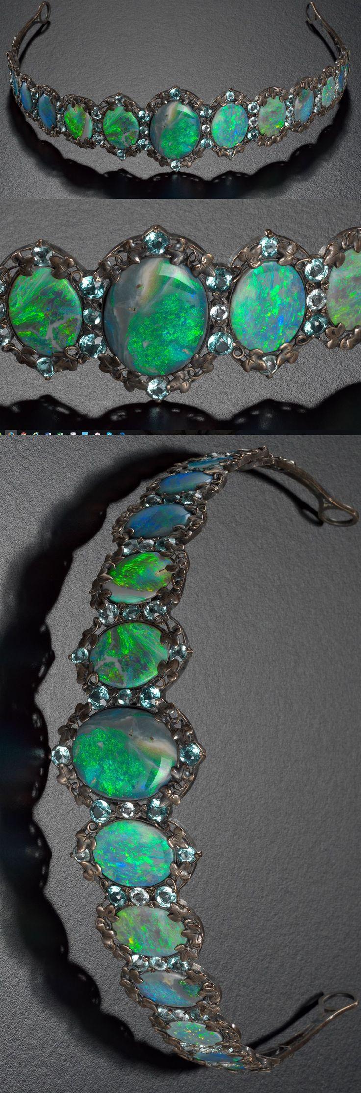 Tiara c1925. Silver, opals and Aquamarines. National Gallery, Victoria, Australia #opalsaustralia