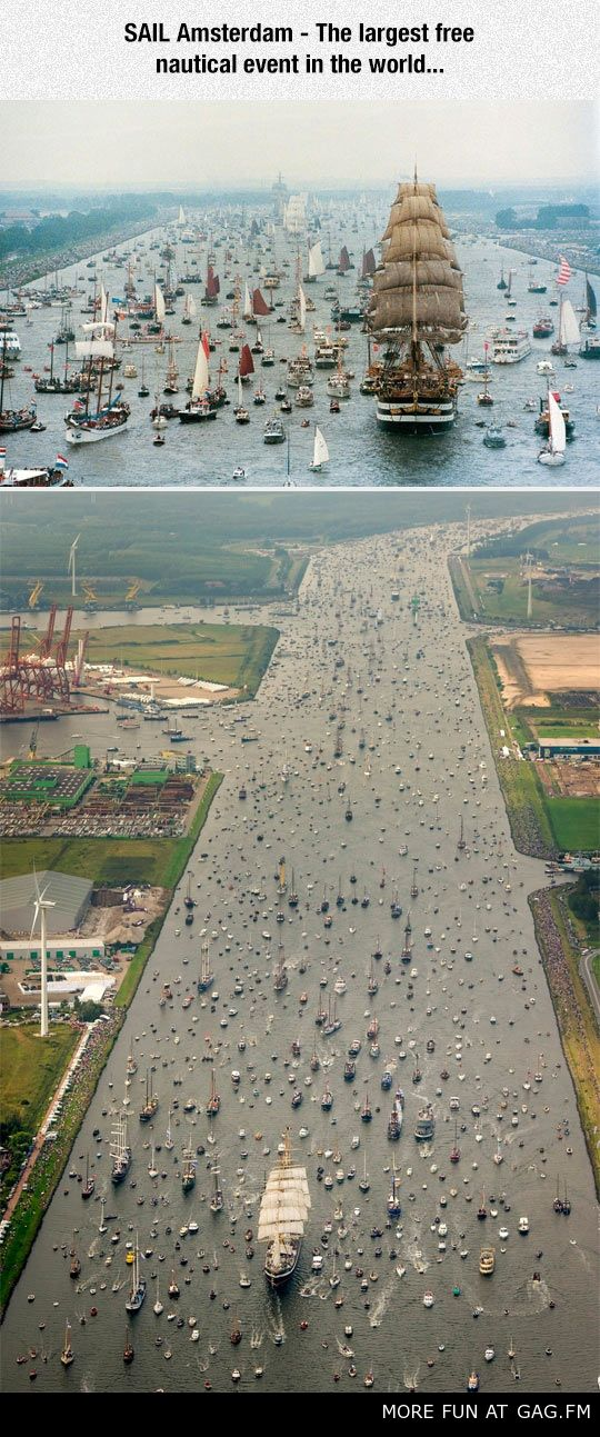 INCREDIBLE VIEW OF HOLLAND SHIP…CHANNEL WITH EVERY BOAT & SHIP IN THE COUNTRY ON IT! WIND TURBINES, Sail Amsterdam