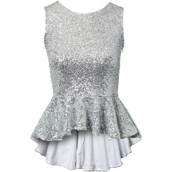 Club L New Year Sequin Peplum Top (130 BRL) ❤ liked on Polyvore featuring tops, shirts, tank tops, silver, womens-fashion, ruffle hem top, peplum shirt, tall tops, club l and shirt top