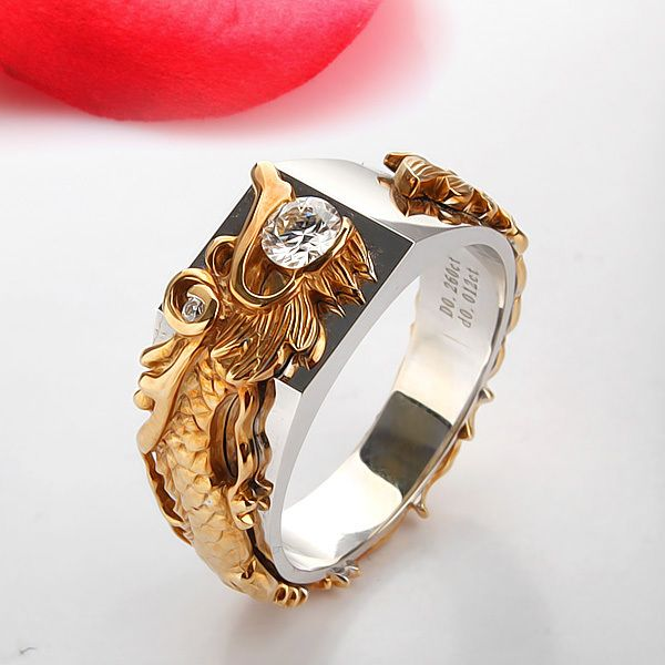 ... 0.25 Carat Solid Gold 14K Dragon Ring Flash G-H Color Moissanite Men's Anniversary Ring Excellent Mother ...