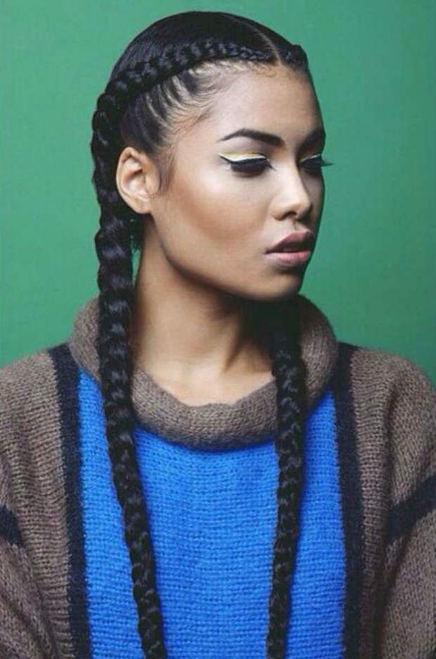 long single braids with sweater