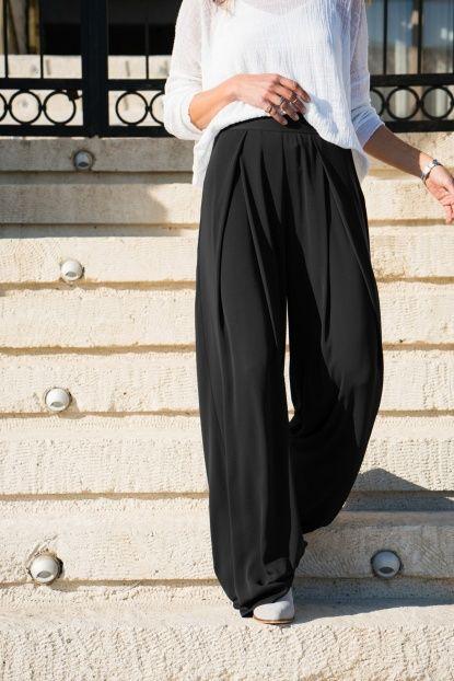 Kadın Siyah Krep Bol Pantolon
