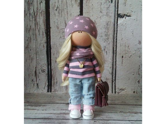 Soft doll doll Tilda doll Art doll handmade brown black colors Rag doll Cloth doll Fabric doll Home doll by Master Irina Bukina