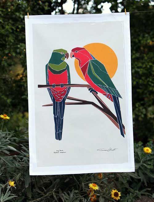 Australian Certified Organic Australian Birds tea towel - King Parrot #certifiedorganic #teatowel #birdsofaustralia #organiccotton #kitchentextiles #blackcockatoo #easternrosella #ganggangcockatoo #kingparrot #galah #regentparrot #parrot #rosella