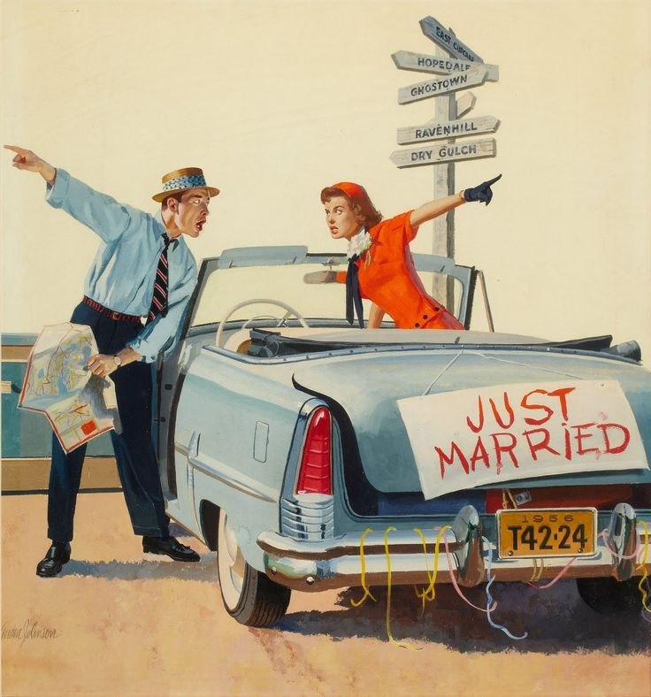 I can really feel for these two...GORDON JOHNSON Just Married, American Weekly cover, August 5, 1956