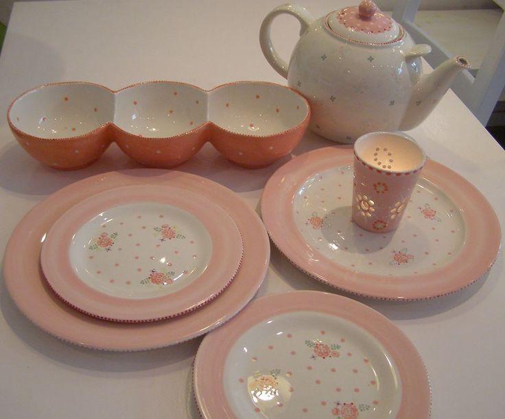 Hochzeitsgeschenk. Hochzeits-Service. Keramik selbst bemalt. Romantisches Muster. Landhaus Romantik.