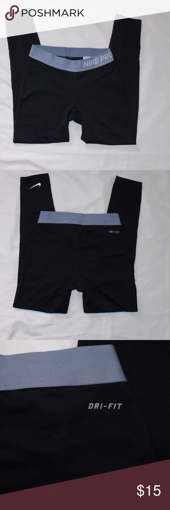 """Nike Pro Compression Black Leggings Sz SM In good shape, Nike Pro compression leggings. Logos shows some cracking. Measurements are taken on leggings laying flat: 28"""" outseam, 22"""" inseam, & 11"""" waist. All reasonable offers considered. Bundle to save even more! Nike Bottoms Leggings"""